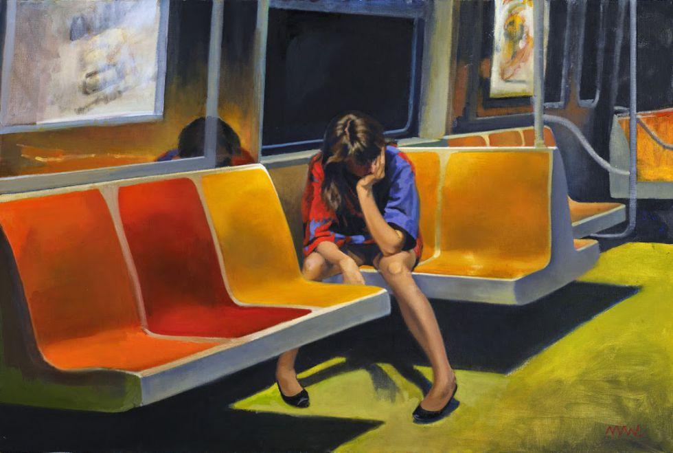 'Q Train' (1990), cuadro del artista Nigel Van Wieck.