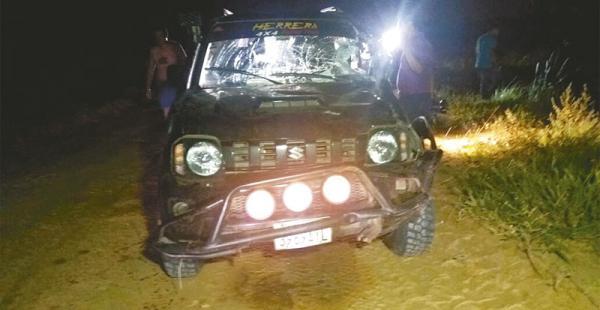 El jeep Suzuki en el que resultó lesionado Roy Herrera Rodríguez