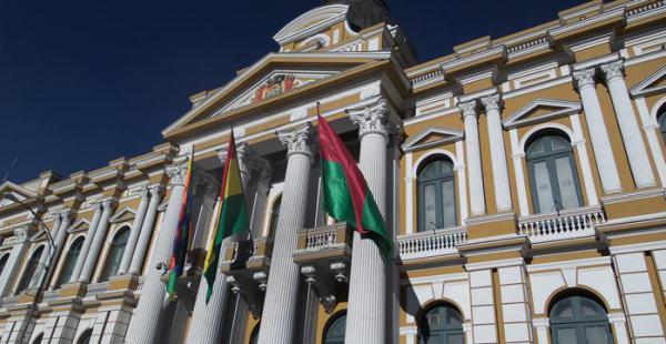 Frontis de la Asamblea Legislativa Plurinacional en Bolivia.