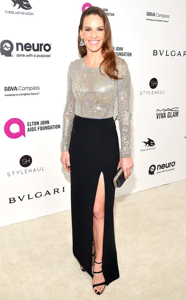Elton John Oscars Party, Hilary Swank