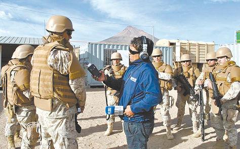 Presencia. Militares que fueron desplegados en Cariquima, Chile, en la frontera con Bolivia, en abril.