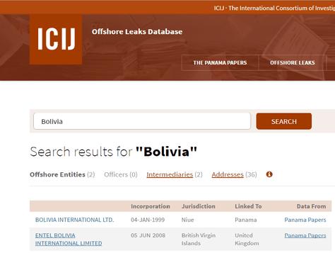 Captura de pantalla de la página publicada hoy con la información sobre los Papeles de Panamá.