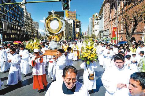La celebración de Corpus Christi. Foto: La Razón - archivo
