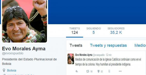 Este fue el tuit del presidente Morales en el que dice sentirse humillado