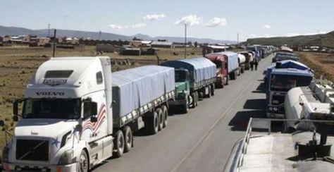 Bloqueo del transporte pesado. Foto: ABI