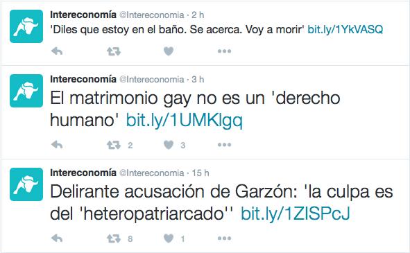 La sucesión de tuits de Intereconomía.