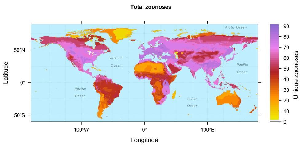 El mapa muestra la prevalencia geográfica de las 150 zoonosis incluidas en el estudio.