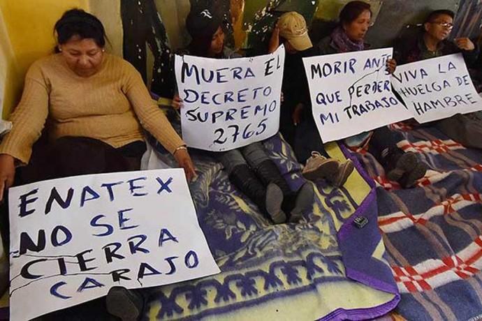 HUELGA. Los trabajadores despedidos.