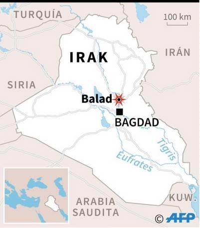 Mapa de Irak con localización de Balad, donde el ISIS atacó un mausoleo shiíta./ AFP