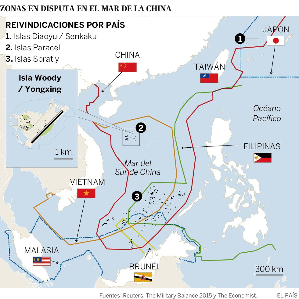 Mapa de las zonas en disputa en el Mar de la China