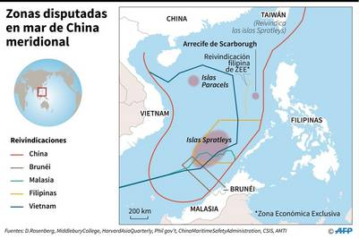 Zonas disputadas en el mar de China meridional / AFP /