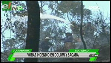 Voraz incendio en Colomi y Sacaba