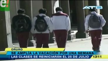 Se amplia la vacación escolar en La Paz, El Alto, Oruro y Potosí