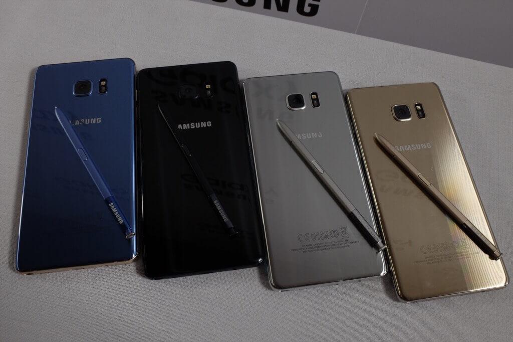 Samsung Galaxy Note 7 colores trasera con puntero