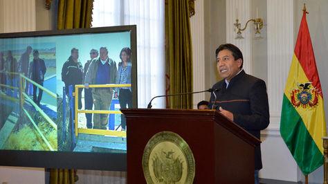 El canciller David Choquehuanca en conferencia de prensa