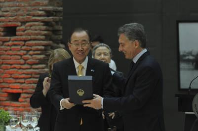 El presidente Macri recibió al Secretario General de la ONU, Ban Ki-Moon, en Casa de Gobierno. (08.08.2016) NESTOR GARCIA