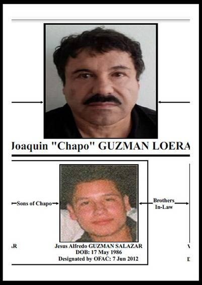 """El narcotraficante Méxicano Joaquín """"Chapo"""" Guzmán (arriba) y uno de sus hijos, Jesús Alfredo Guzmán Salazar (abajo). / EFE"""