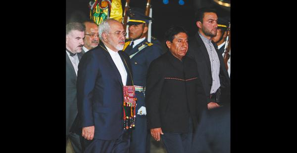 El jefe de la diplomacia iraní Javad Zarif fue recibido por el canciller David Choquehuanca