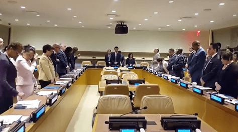 Minuto de silencio de embajadores de América Latina y el Caribe ante la ONU, en memoria del viceministro Rodolfo Illanes.Foto:@SachaLlorenti