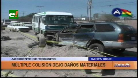 Múltiple colisión deja daños materiales de consideración