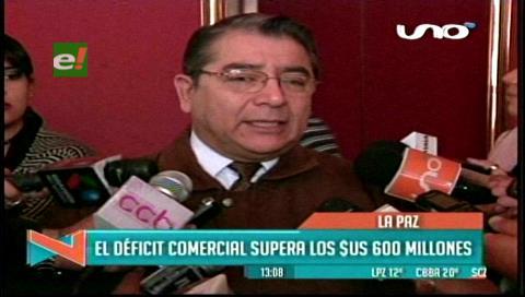 IBCE: Deficit comercial en Bolivia supera los $us 600 millones