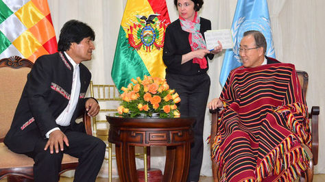 Morales y Ban Ki-moon durante la visita del Secretario General de la ONU a Bolivia en 2015
