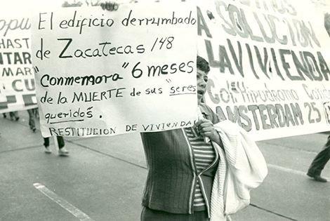 Vecinos protestan después de terremoto de 1985