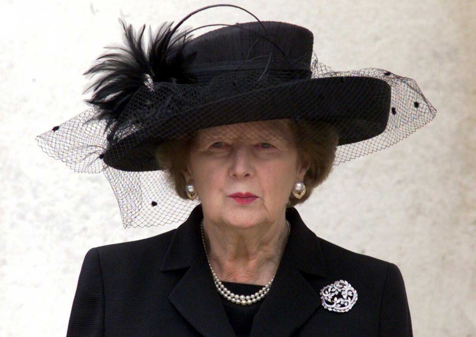 Margaret Thatcher, en el funeral de Denis Thatcher en 2003.