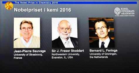 Los ganadores del premio nobel de Química (de izq. a der.) Jean-Pierre Sauvage, Fraser Stoddart y Bernard Feringa. Foto: AFP