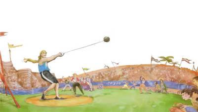 """Un dibujo de Jenny lanzando el martillo que ilustra el primer cuento. """"Se trata de una chica grandota a la cual todos burlaban en el colegio"""", dice."""