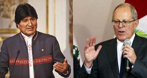 El presidente de Bolivia, Evo Morales, y sy par peruano Pedro Pablo Kuczynski .