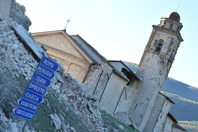 A wall has collapsed due to a 6.6 magnitude earthquake on October 30, 2016 in Norcia. It came four days after quakes of 5.5 and 6.1 magnitude hit the same area and nine weeks after nearly 300 people died in an August 24 quake that devastated the tourist town of Amatrice at the peak of the holiday season. Italy