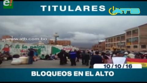 Titulares de TV: Bloqueos en El Alto aislaron a La Paz