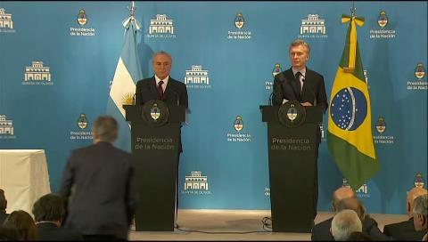 Mauricio Macri y Michel Temer destacaron coincidencias sobre Mercosur, Venezuela y Colombia
