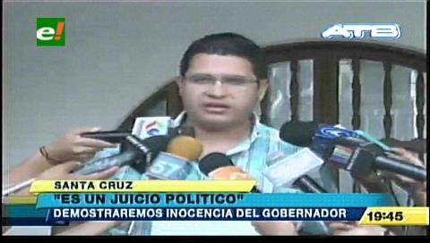 """Vladimir Peña: """"Reactivación de juicio a Rubén Costas es político y busca inhabilitarlo"""""""