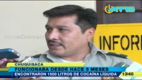 Felcn encuentra laboratorio de cocaína en Muyupampa