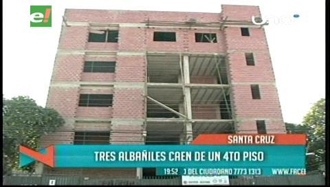 Tres albañiles caen de un edificio en construcción