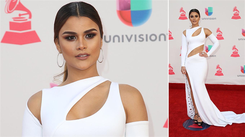 La modelo dominicana Clarissa Molina eligió un diseño blanco con cut-outs, cola con bordados e importante tajo. Foto: Agencias
