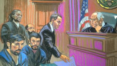 Dibujo de una de las audiencias del caso que involucra a los sobrinos de la primera dama de Venezuela, Cilia Flores, en un intento por traficar cocaína hacia EE.UU. (Crédito: Christine Cornell).