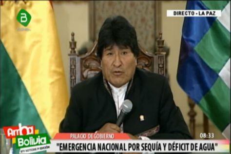 El presidente Evo Morales anuncia la declaratoria nacional de emergencia por la crisis del agua. Foto: Captura de Bolivia TV