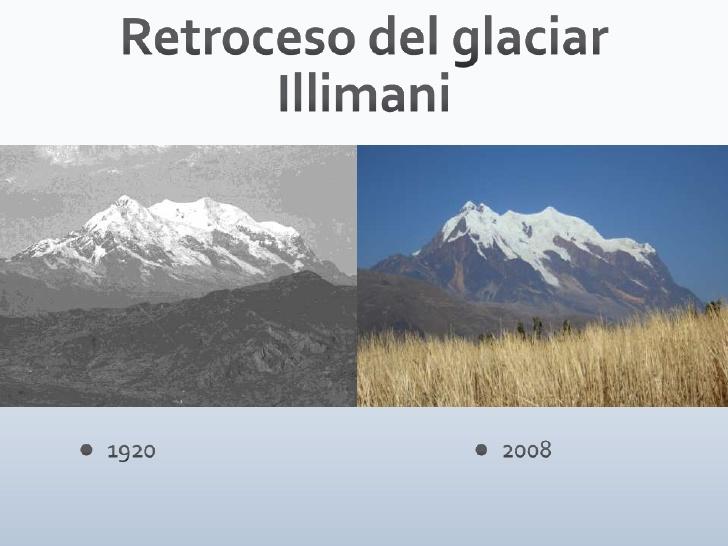 Retroceso del glaciar Illimani<br />1920<br /><ul><li>2008</li></li></ul><li>