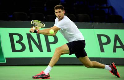 El zurdo Delbonis hizo tenis con Mayer en el arranque de la práctica matutina. (Germán García Adrasti)