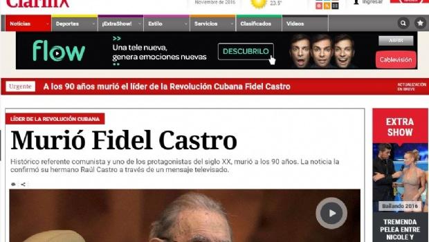Repercusión en la prensa mundial por la muerte de Fidel Castro