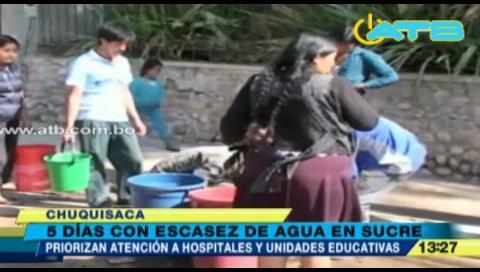 Continúa el desabastecimiento de agua en Sucre