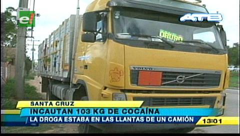La Felcn incautó 103 Kg de cocaína camuflada en las llantas de un camión