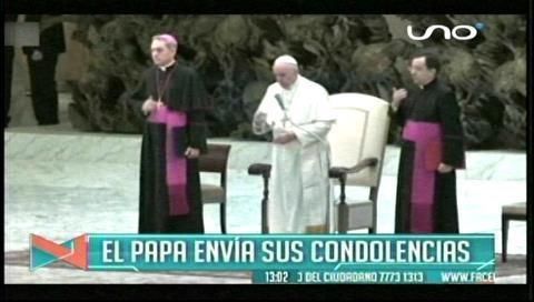 El Papa Francisco transmitió sus rezos y condolencias a las víctimas del LaMia
