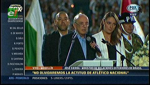 Homenaje a Chapecoense: Canciller de Brasil da emocionante discurso en Colombia