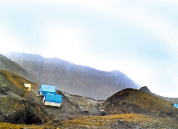 Campamento de inversionistas chinos que desarrolla la labor de extracción de minerales de La Paz.