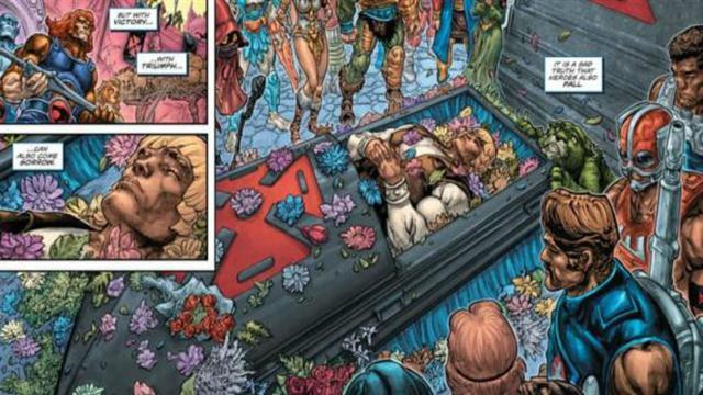 Los restos del héroe fueron velados en el tercer número de la historieta.