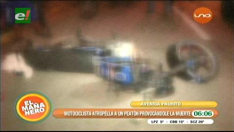 Motociclista atropella a peatón y lo mata
